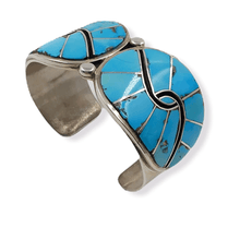 Load image into Gallery viewer, Vintage Navajo Inlay Turquoise Bracelet