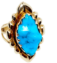 Load image into Gallery viewer, Vintage Zuni 14K High Grade Sleeping Beauty Turquoise Ring