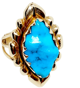 Vintage Zuni 14K High Grade Sleeping Beauty Turquoise Ring