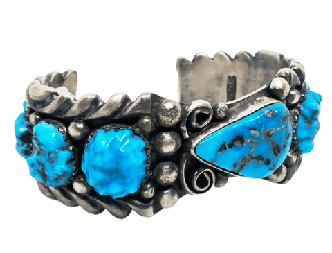 Image of Vintage Zuni Sterling Silver Sleeping Beauty Turquoise Bracelet