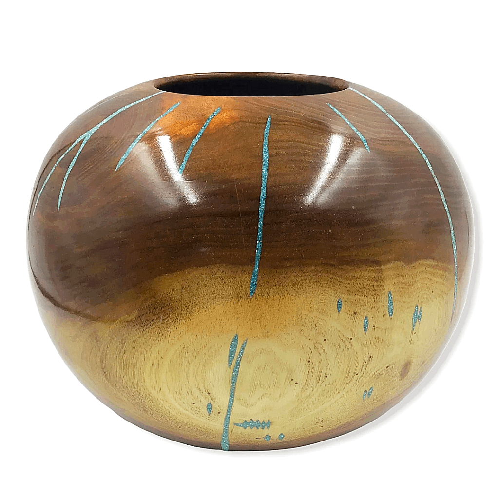 Walnut Wood Turning W/ Rays of Turquoise by S. Heath