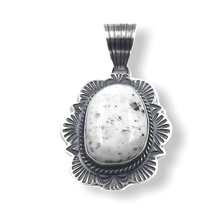 Load image into Gallery viewer, White Buffalo Navajo Oxidized Pendant