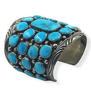 Wide Pawn Sleeping Beauty Turquoise Bracelet -Navajo