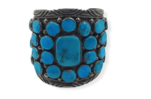 Load image into Gallery viewer, Wide Pawn Sleeping Beauty Turquoise Bracelet -Navajo