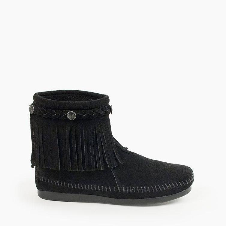 Women's High Top Back Zip Boots Black 299