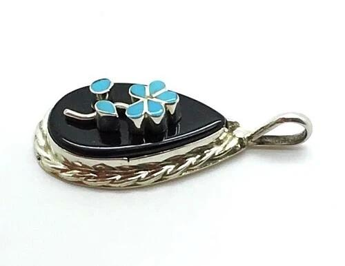 Zuni Sterling Silver Raised Turquoise Flower Onyx Inlay Pendant - DL Chavez