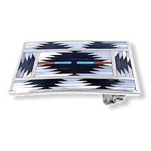 Load image into Gallery viewer, Zuni Traditional Inaly Belt Buckle