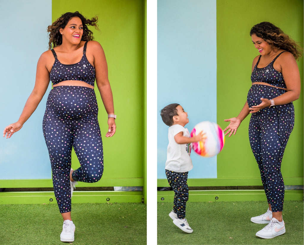 Maternity tights and mama mini matching active wear