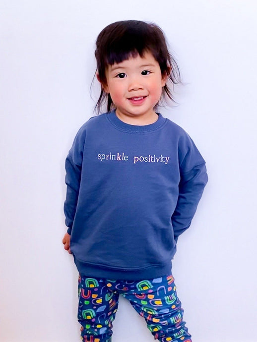 Kids Sprinkle Positivity Jumper - Navy - Mama Movement