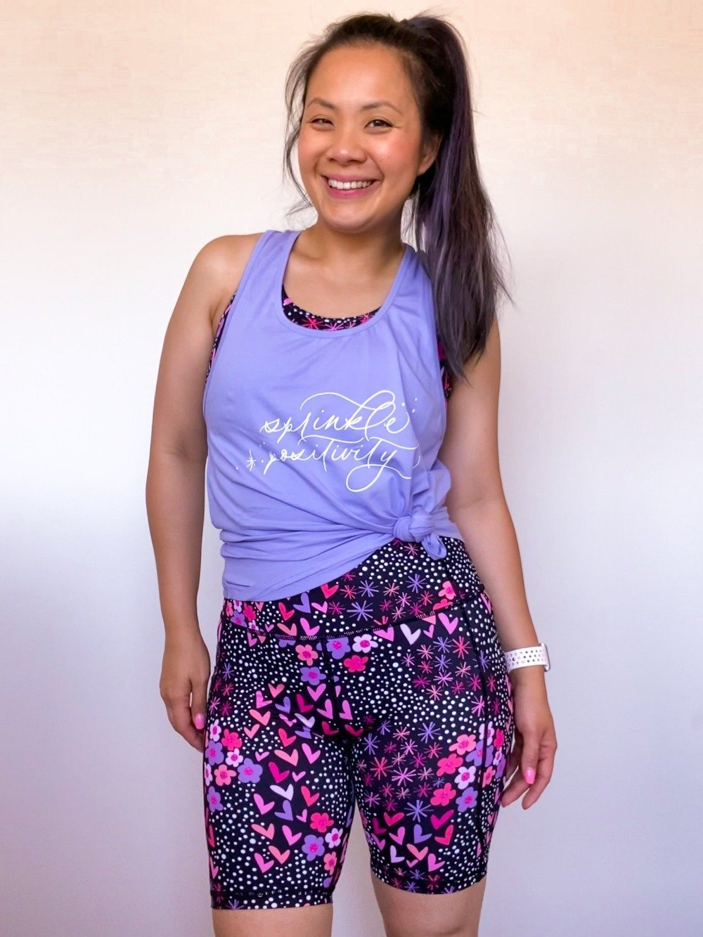 Sprinkle Positivity Active Curve Tank (Hot Pink / Lavender / Navy) - Mama Movement