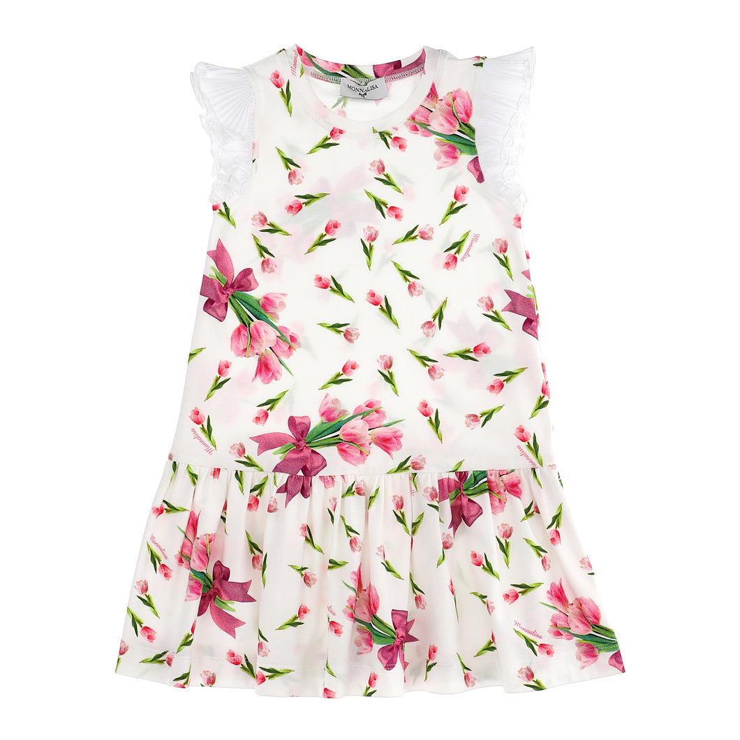 Tulip Bow Print Jersey Dress