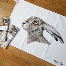 Load image into Gallery viewer, 'Startled Hare' tea towel