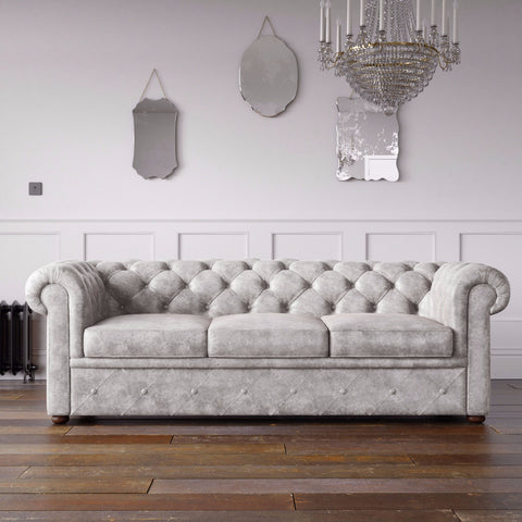 Chesterfield Arizona PU Leather Look Sofa Marble