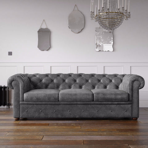 Chesterfield Arizona PU Leather Look Sofa Graphite