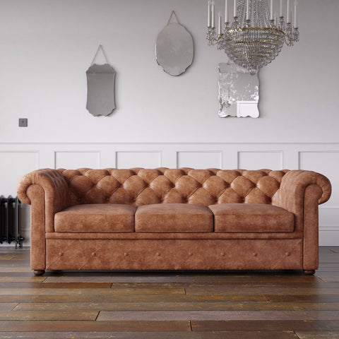 Chesterfield Arizona PU Leather Look Sofa Tan