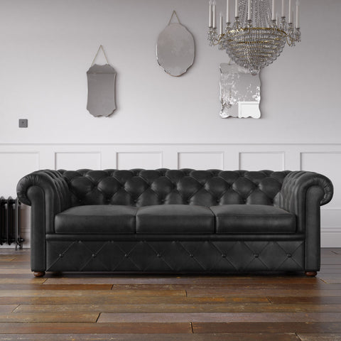 Chesterfield Arizona PU Leather Look Sofa Black