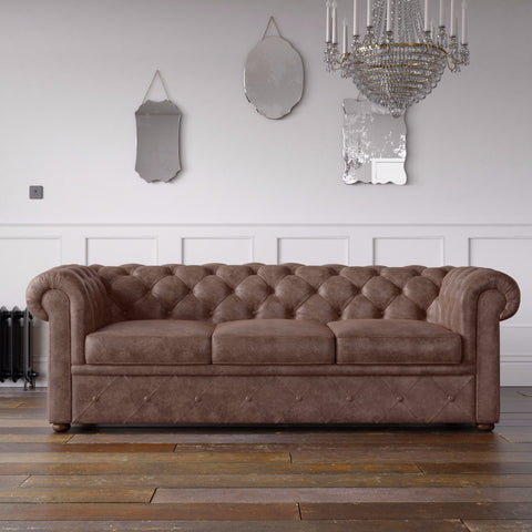 Chesterfield Arizona PU Leather Look Sofa Brown