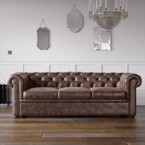 Chesterfield Arizona PU Leather Look Sofa Chocolate