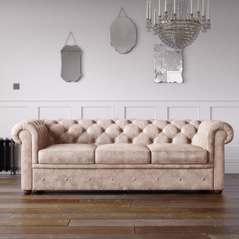Chesterfield Arizona PU Leather Look Sofa Nature
