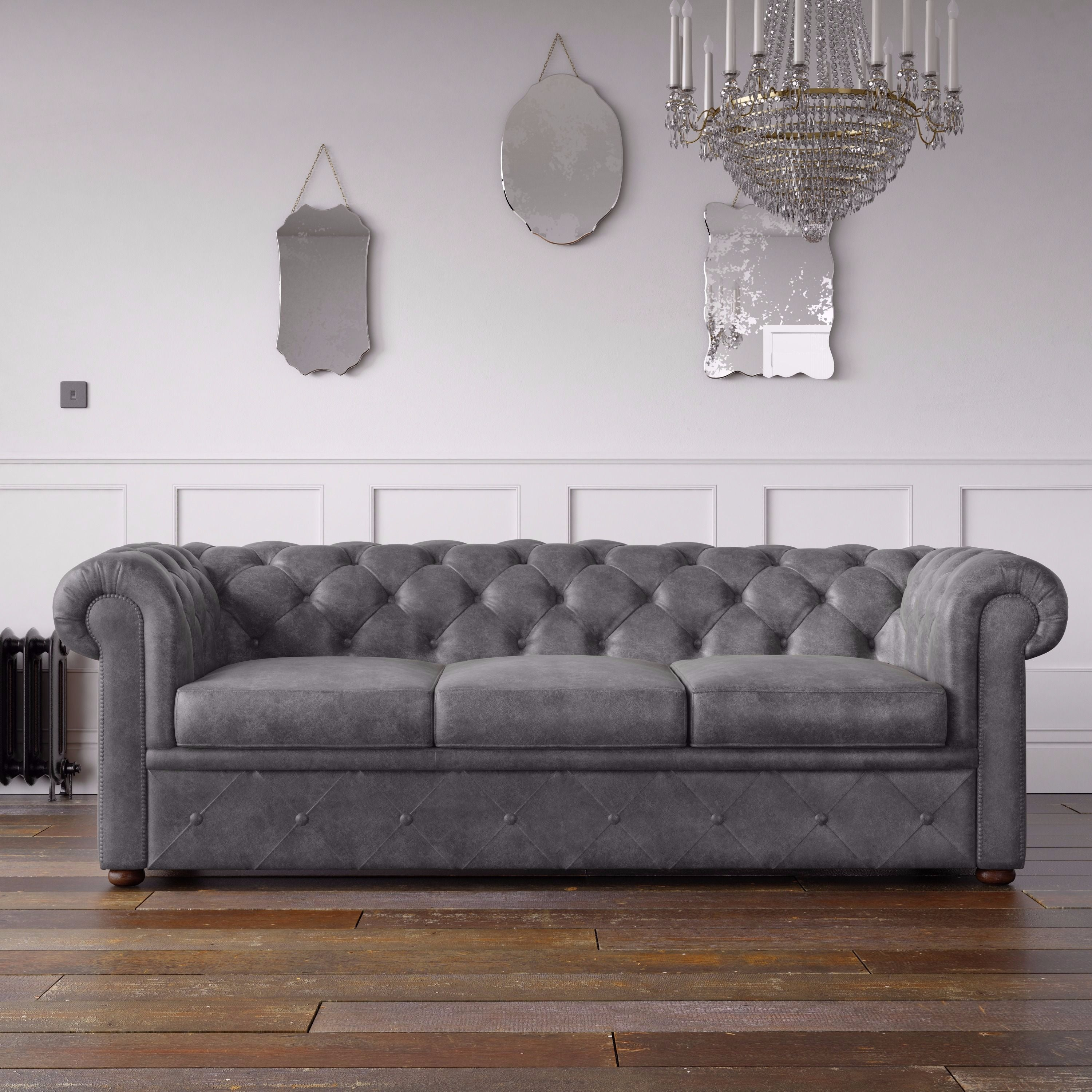Chesterfield Arizona Pu Leather Look Sofa Grey Endure Fabrics