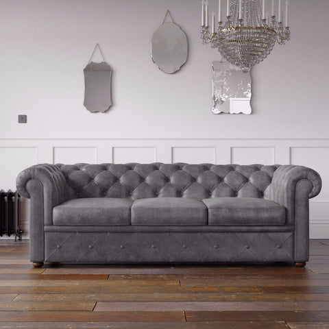 Chesterfield Arizona PU Leather Look Sofa Grey