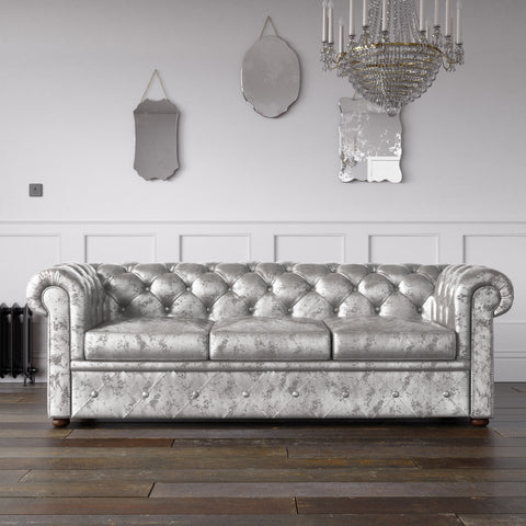 Chesterfield Crushed Velvet Sofa Ice