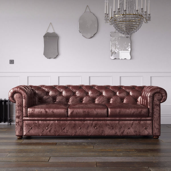 Chesterfield Crushed Velvet Sofa Mulberry Endure Fabrics