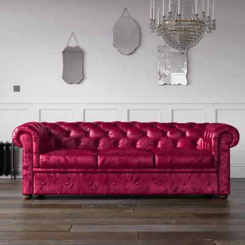 Chesterfield Crushed Velvet Sofa Fuchsia Pink