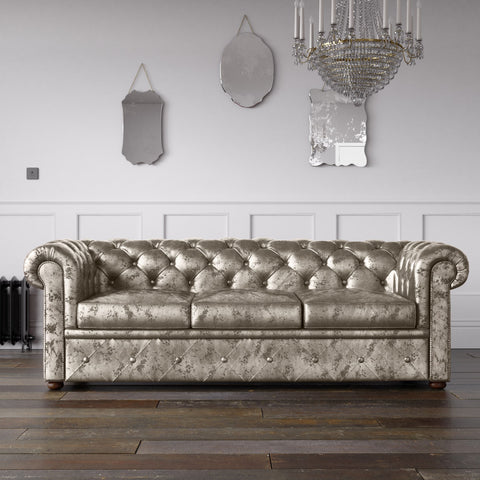 Chesterfield Crushed Velvet Sofa Cream