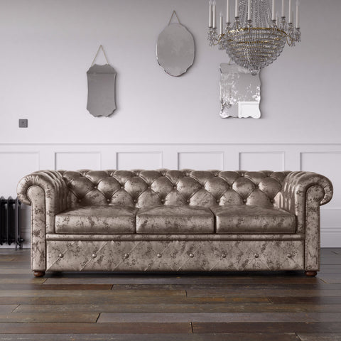 Chesterfield Crushed Velvet Sofa Truffle