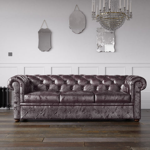 Chesterfield Crushed Velvet Sofa Lavender