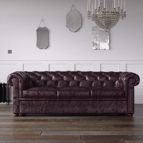 Chesterfield Crushed Velvet Sofa Purple