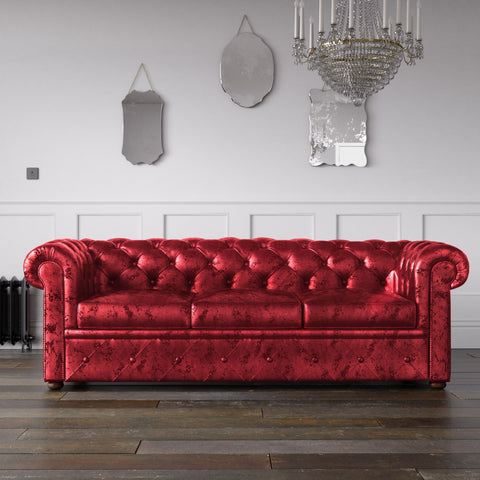 Chesterfield Crushed Velvet Sofa Red