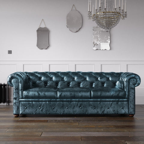 Chesterfield Crushed Velvet Sofa Aqua