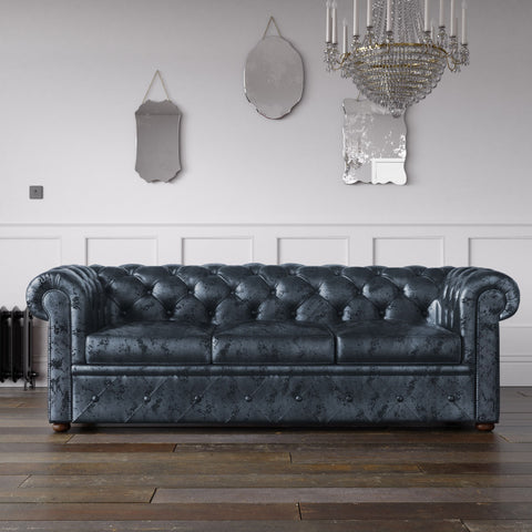 Chesterfield Crushed Velvet Sofa Navy
