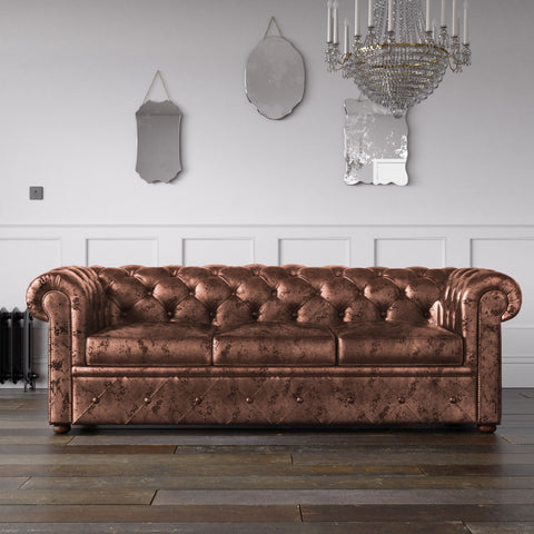 Chesterfield Crushed Velvet Sofa Chocolate