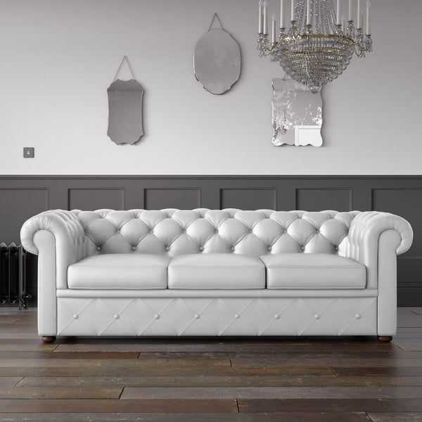 Chesterfield Faux Leather Sofa White Endure Fabrics