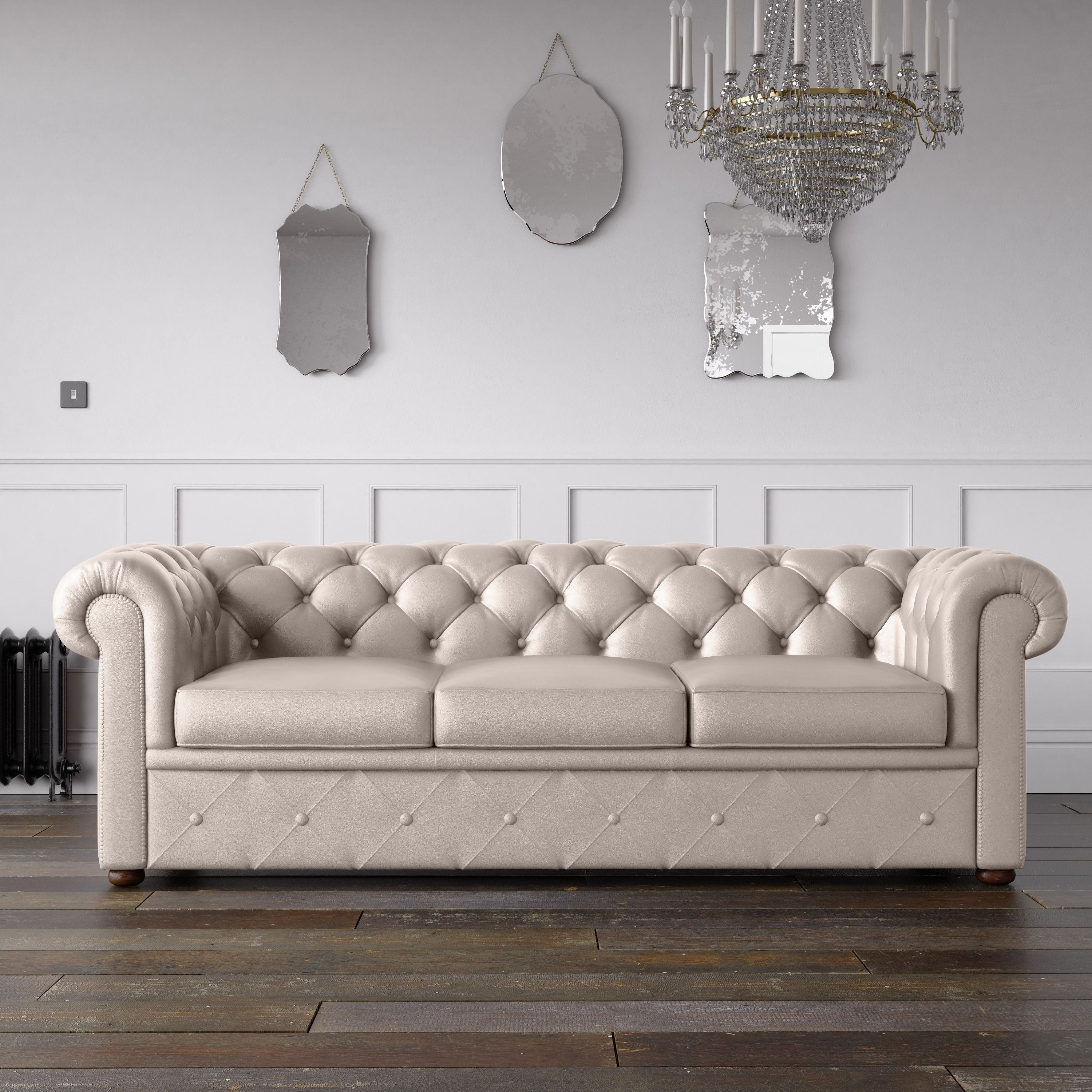 Chesterfield Faux Leather Sofa Cream