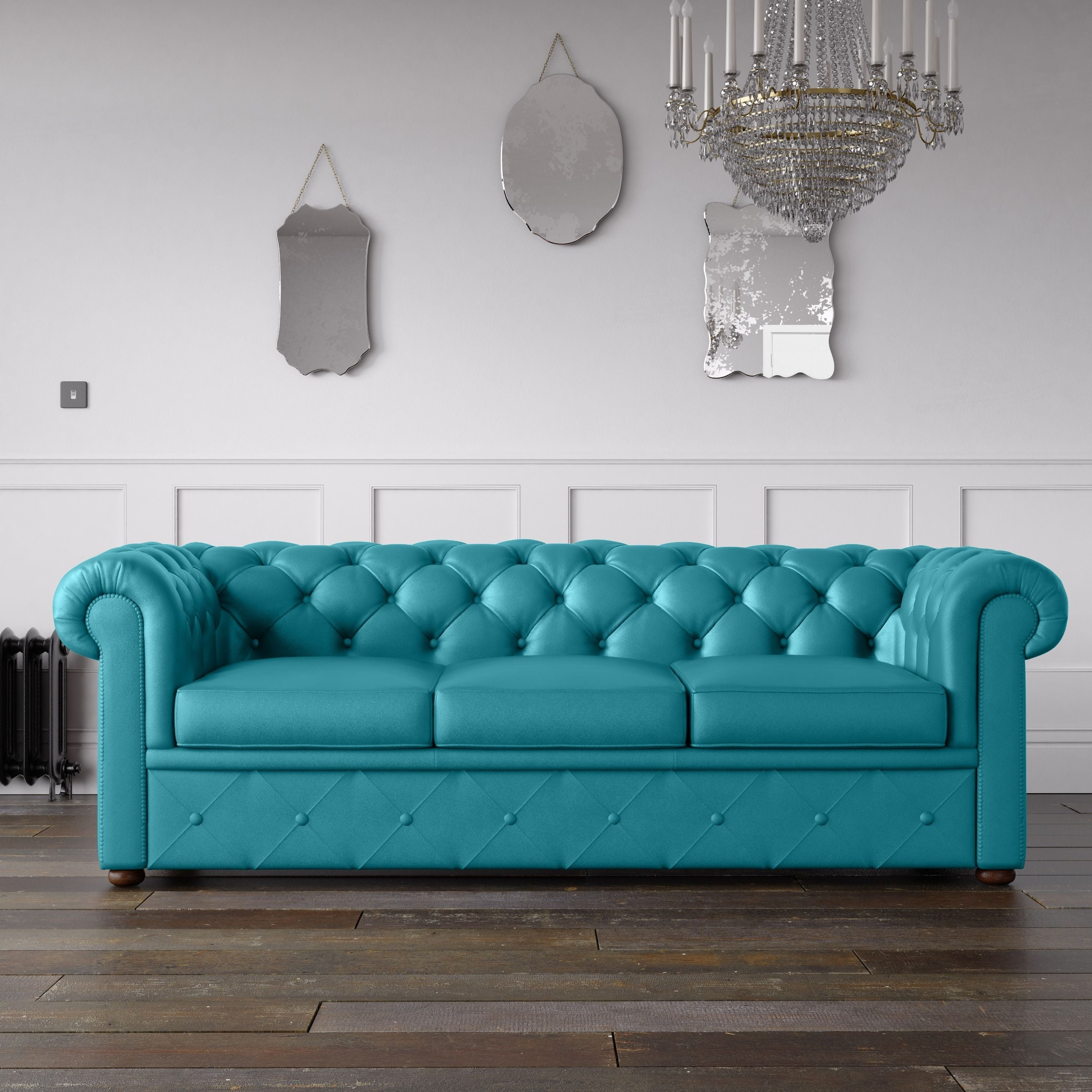 Exceptionnel Chesterfield Faux Leather Sofa Turquoise