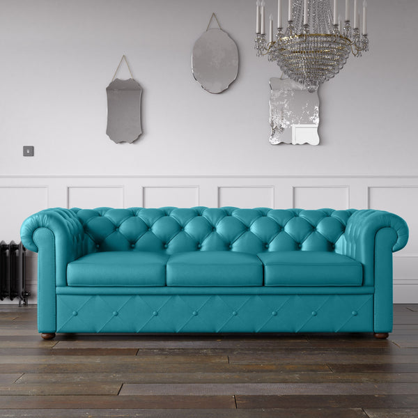 Chesterfield Faux Leather Sofa Turquoise Endure Fabrics