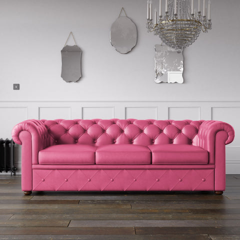Chesterfield Faux Leather Sofa Pink