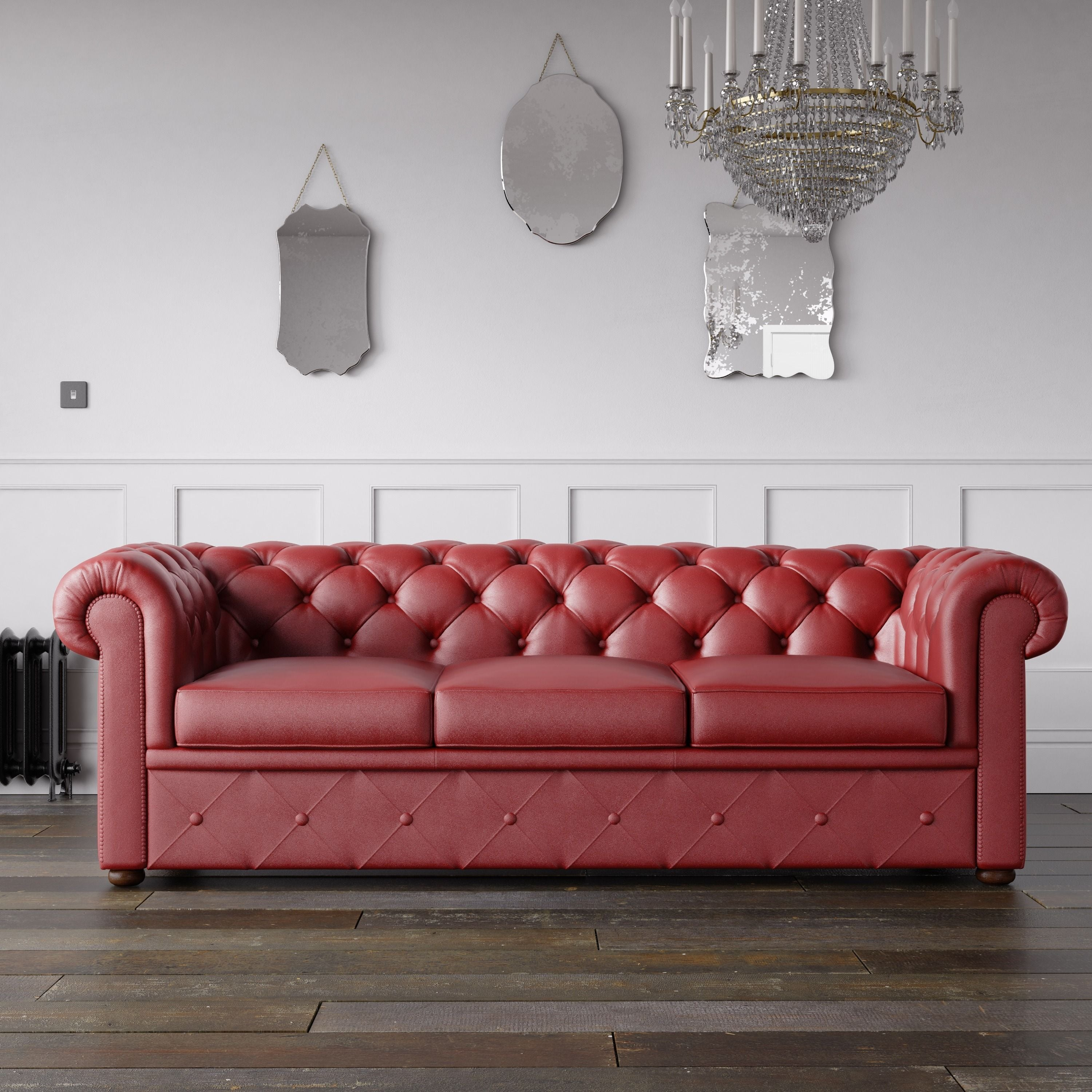 Chesterfield Faux Leather Sofa Red – Endure Fabrics