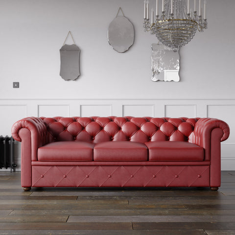 Chesterfield Faux Leather Sofa Red