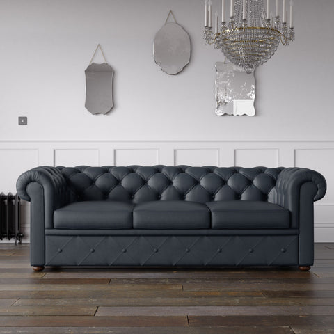 Chesterfield Faux Leather Sofa Navy