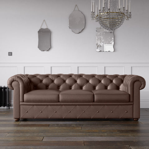 Chesterfield Faux Leather Sofa Tobacco