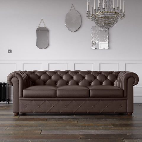 Chesterfield Faux Leather Sofa Chocolate