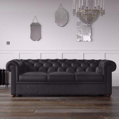 Chesterfield Faux Leather Sofa Black
