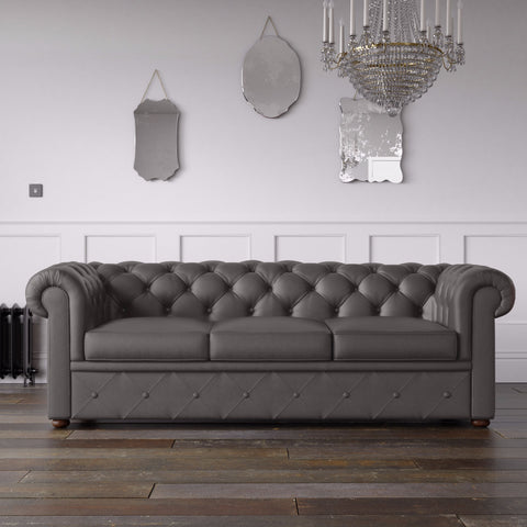 Chesterfield Faux Leather Sofa Slate