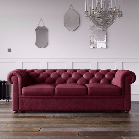 Chesterfield Malia Velvet Sofa Burgundy