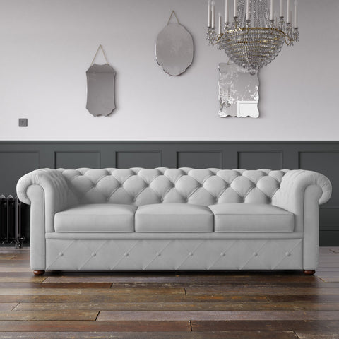 Chesterfield Malia Velvet Sofa Optic White